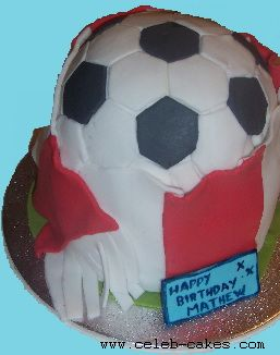 Novelty football birthday cake